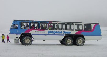 snow coach at Athabasca Glacier