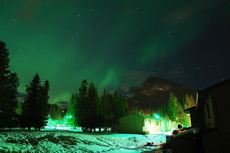 Northern lights over Banff canada