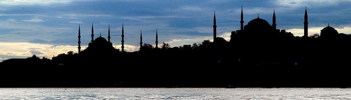 Istanbul silhouette at dusk