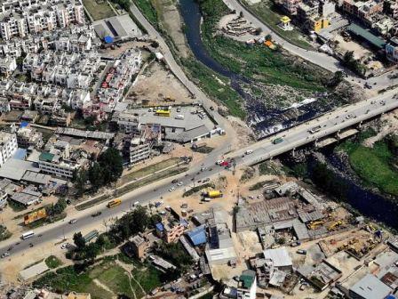 Aerial view of a road in Kathmandu