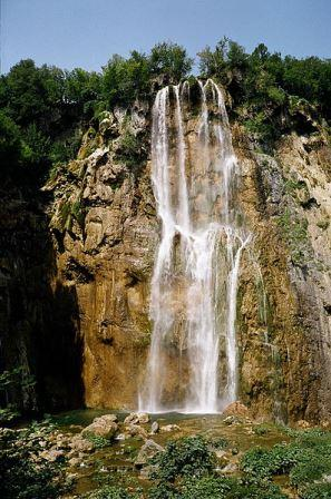 waterfall of the Plitvica river at Lower Lakes.