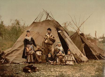 A Sami (Lapp) family in Norway