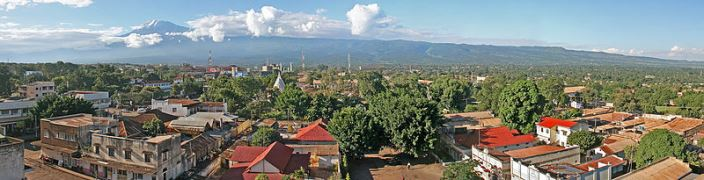 Moshi town in Tanzania and Mt Kilimanjaro
